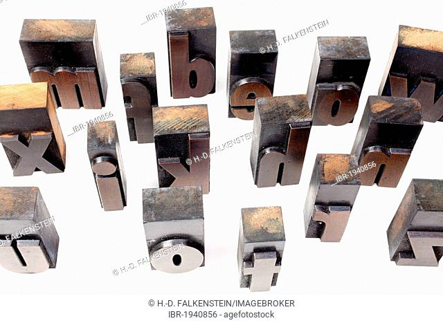 Old wooden letters for printing, bold poster font