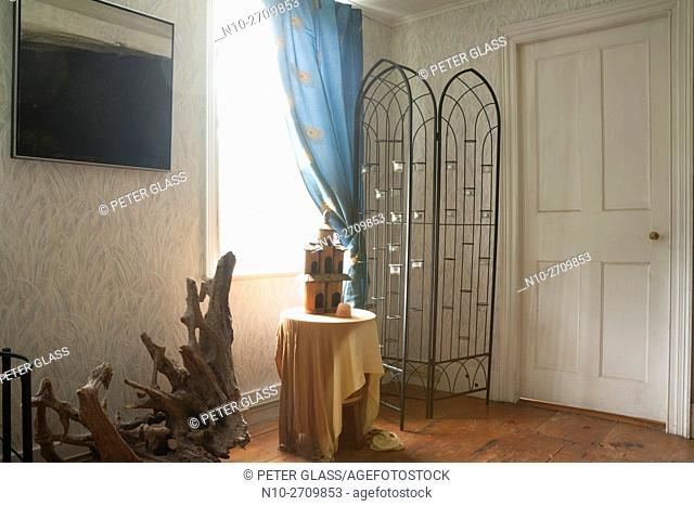 Room with window and door in old house