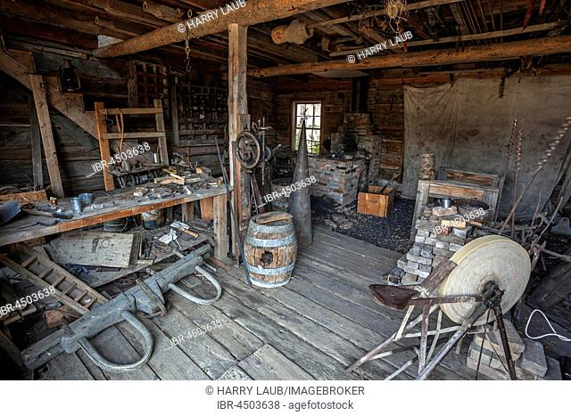 Old blacksmith shop, Wild West open-air museum, Nevada City Museum, former gold mining town, Ghost Town, Montana Province, USA