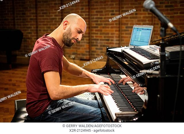 Kekko Fornarelli during sound checks for a performance at the Turner Sims Concert Hall in Southampton, England