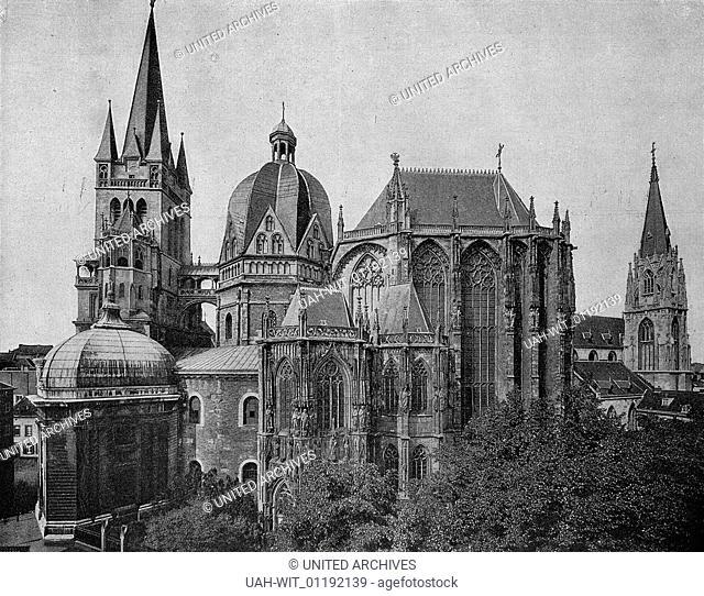 Der Dom zu Aachen von Süden. Der schlichte karolinigsche Kern im Jahre 805 geweiht, im 13. Jahrhundert überhöht, Dach 17. Jahrhundert
