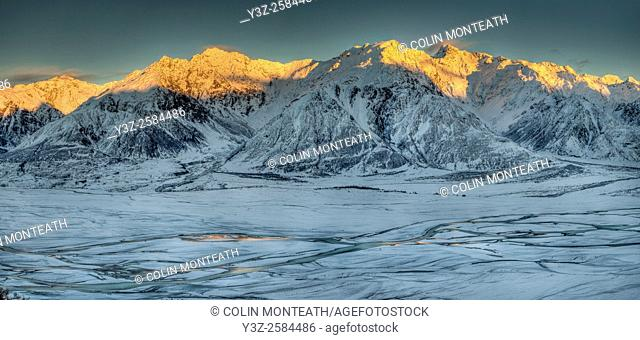 Dawn on Ben Ohau Range above snow covered Tasman River flats from Burnett Mountains, Canterbury
