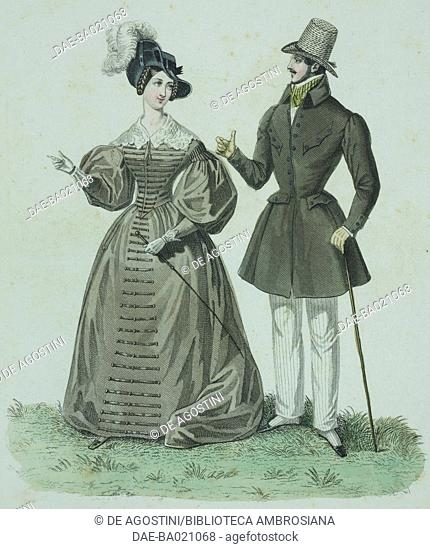 Woman wearing a beige walking dress, with black hat adorned with a white feather, man wearing a dark coat and top hat holding a stick, plate 48, French Fashions