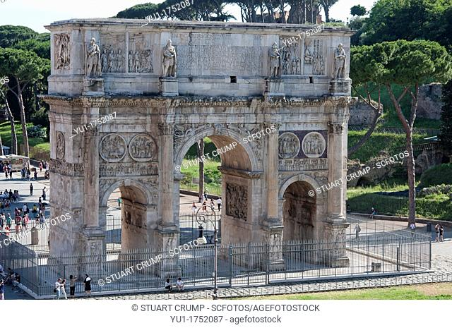 The Arch of Constantine, Arco di Costantino with The Colosseum in the background, Rome, Italy, Europe