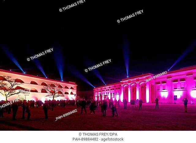 """The fortress Ehrenbreitstein is projected with colourful light for the light art event """"""""Festungsleuchten"""""""" (lit. """"""""Fortress aglow"""""""") in Koblenz, Germany"""