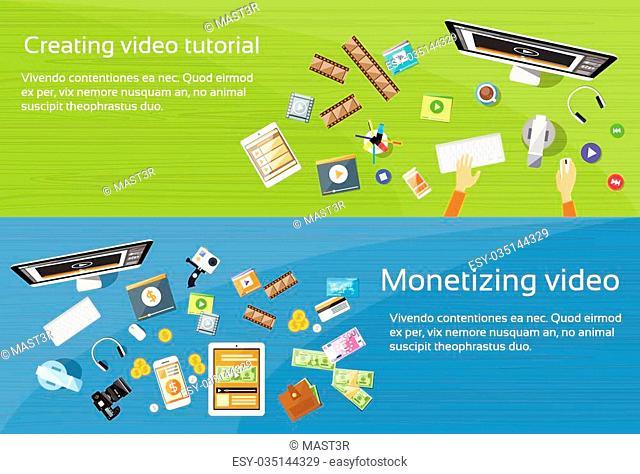 Video Editor Desk Workplace Web Banner Set Flat Vector Illustration