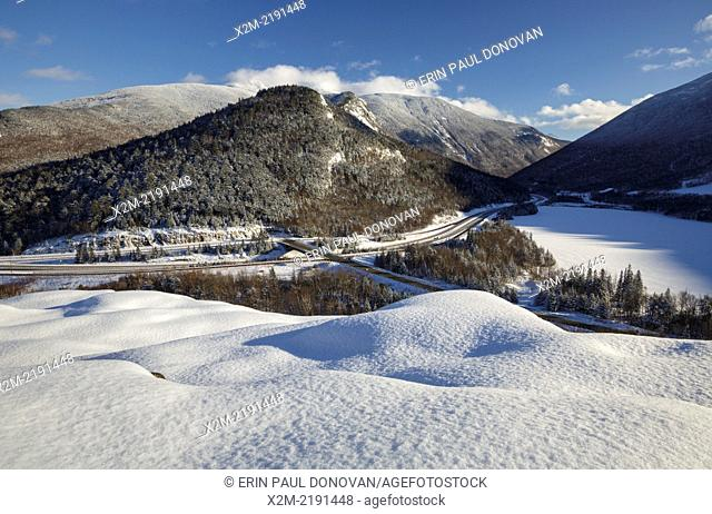 Franconia Notch State Park from Artists Bluff in the White Mountains, New Hampshire USA
