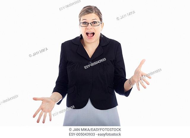 Shocked woman, isolated on white background