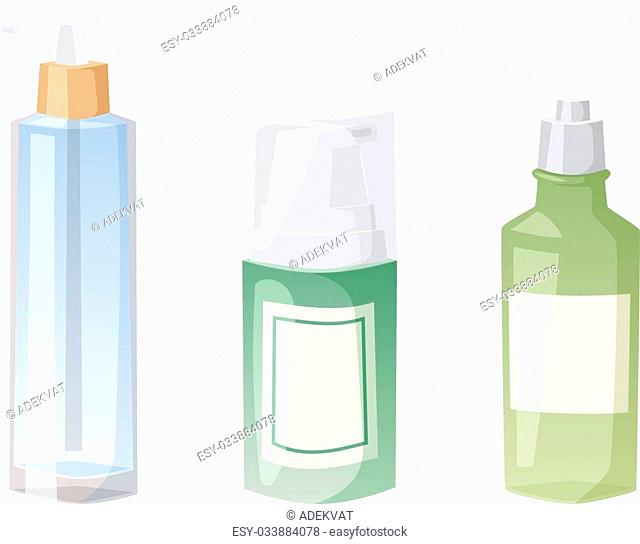 Blank package container design and pack template. Blank package merchandise product liquid clean household. Highly detailed flat colorful cosmetic blank package...