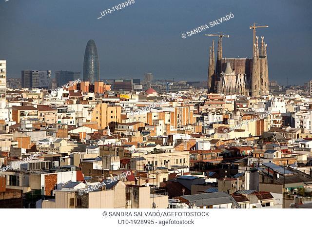 View of Barcelona city, Torre Agbar tower and Gaudi's La Sagrada Familia temple, Barcelona, Catalonia