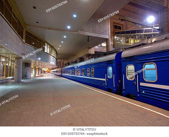 Night Train Minsk-Moscow on a Platform of Minsk Station, Capital of Belarus