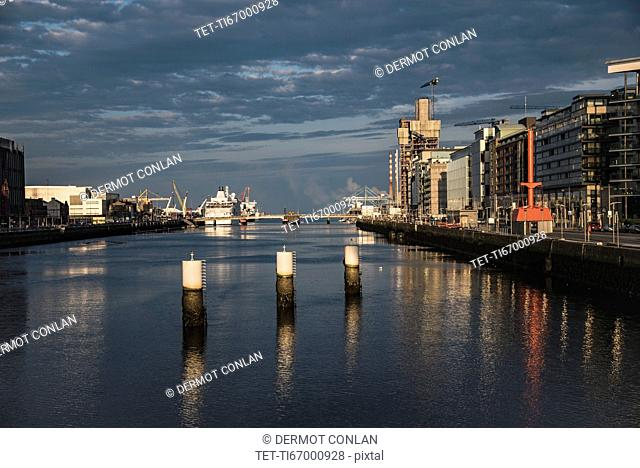 Ireland, Dublin, Harbor and Lifey River