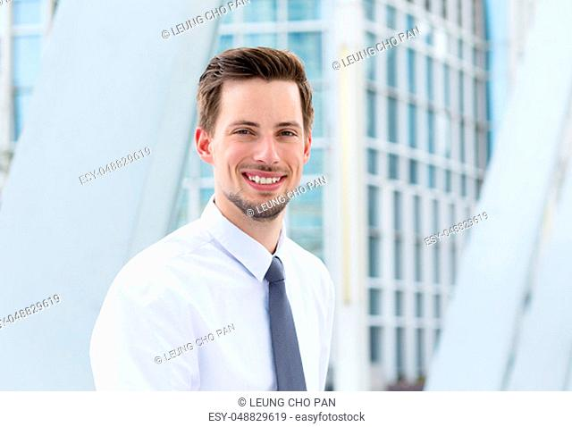 Caucasian businessman at oudoor
