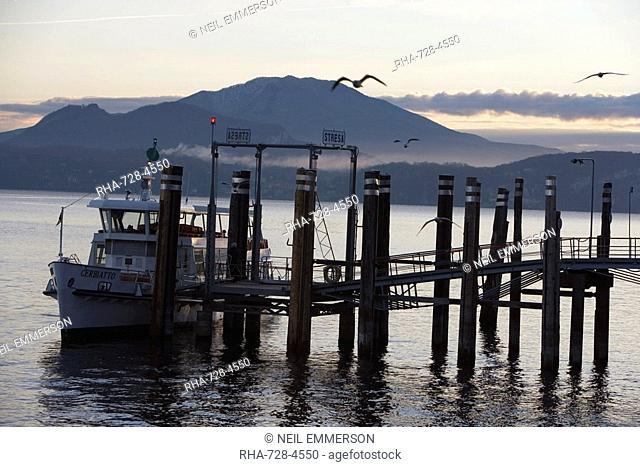 Stresa Pier, Lake Maggiore, Piedmont, Italian Lakes, Italy, Europe