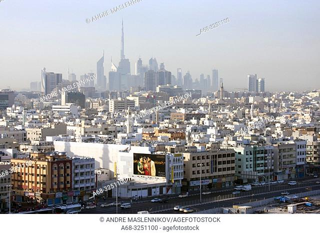 Downtown Deira and Burj Khalifa in the background in Dubai