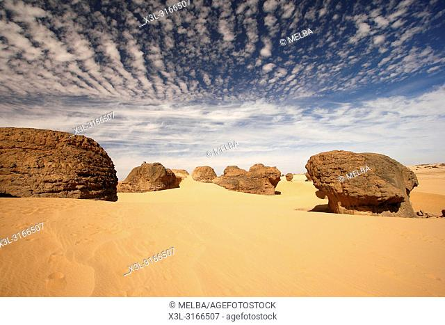 Eroded sandstone in Tagrera. Tassili Ahaggar. Sahara desert. Algeria