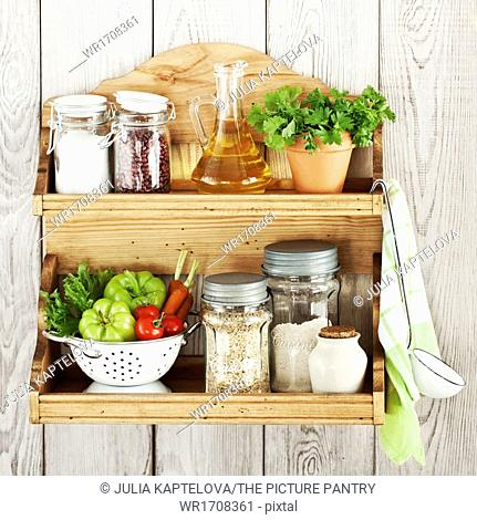 Kitchenware and products on a shelf