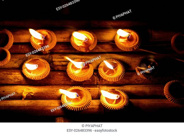 Closeup Group of burning candles in thai style