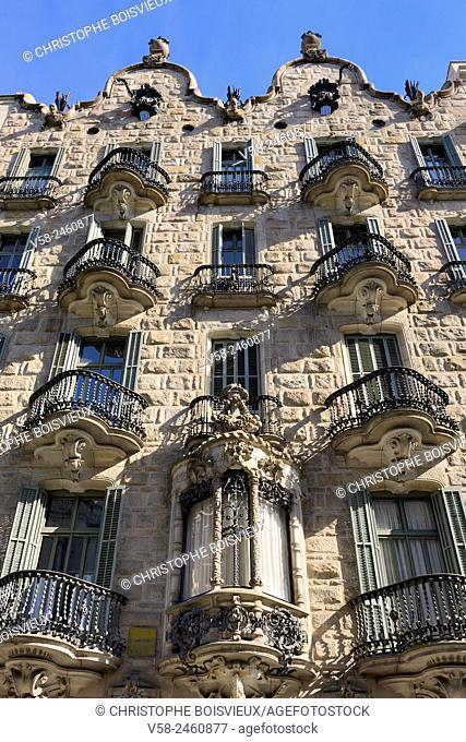 Spain, Catalonia, Barcelona, Casa Calvet, designed by Antoni Gaudí (1898-1900)
