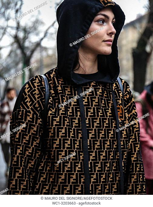MILAN, Italy- February 22 2018: Model Vittoria Ceretti on the street during the Milan Fashion Week