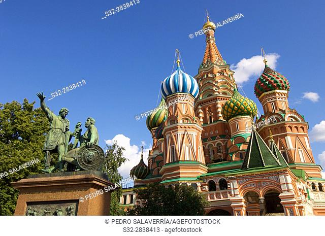 View of the Orthodox Cathedral of St. Basil in Red Square in Moscow, Russia
