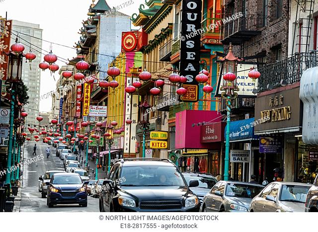 USA, CA, San Fransisco. Chinatown. Lanterns are hanging over the streets for Lunar New Year celebration