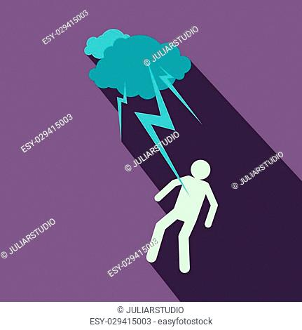 Man struck by lightning icon in flat style on a violet background