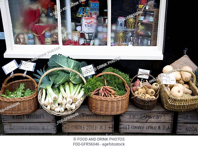 Vegetables for sale outside a shop in Arundel West Sussex, December