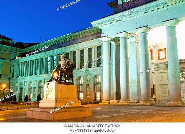 Facade of The Prado museum, night view. Madrid, Spain
