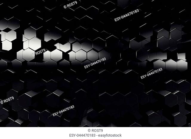 Abstract geometric surface. Hexagonal black background, 3D Rendering