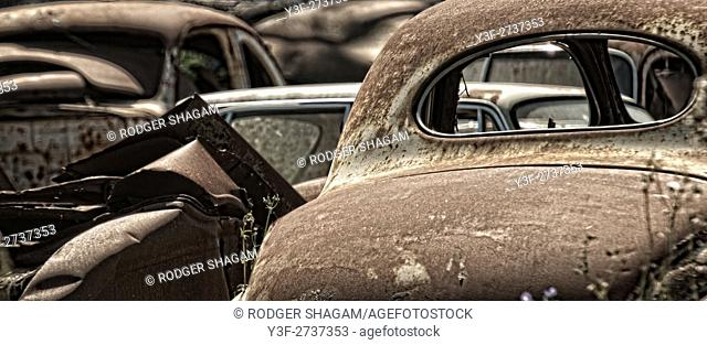 Old, scrapped motor vehicles. Cape Town, South Africa