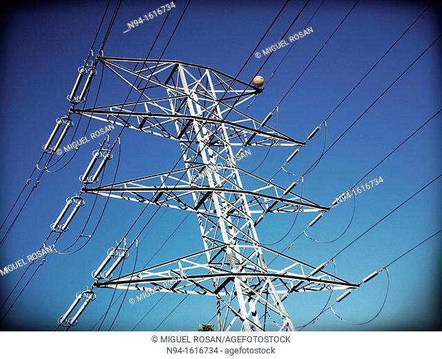 Electricity Pylons La Canyada residential area, Valencia, Spain