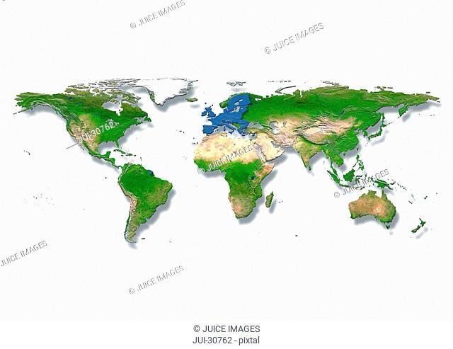 map, world, europe centered, physical, white, blue