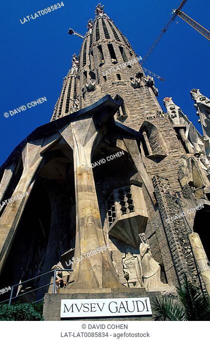 Sagrada Familia church and museum entrance. Architect Gaudi. ReligiousArts,crafts