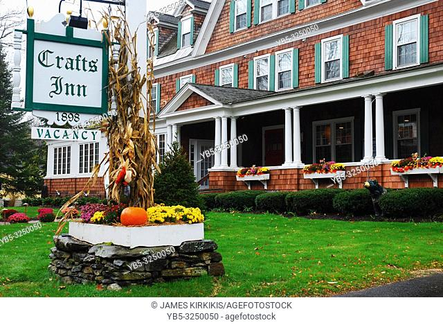 Autumn decorations adorn a country inn in Vermont