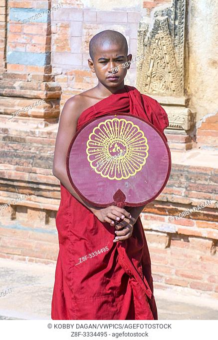 Novice monk in bagan Myanmar