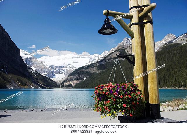Lantern Lakeshore Promenade Of Fairmont Lake Louise  Hotel Victoria Glacier Mount Victoria Banff National Park Alberta Canada