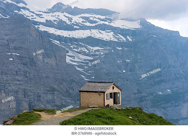Mittellegi Hut on the Mittellegi ridge of the Eigers, behind the northern face of Mt. Jungfrau, Swiss Alps Jungfrau-Aletsch UNESCO World Heritage