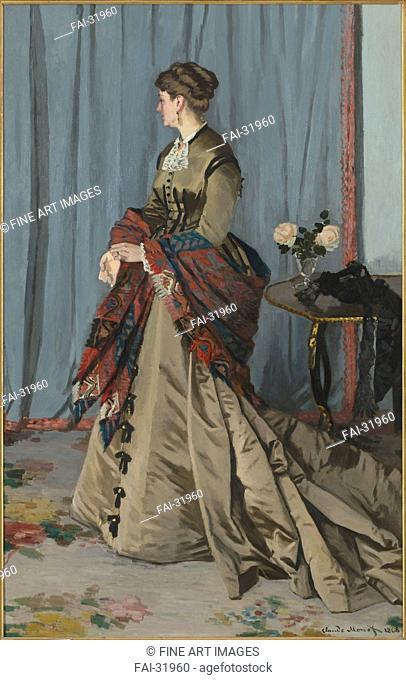 Madame Louis Joachim Gaudibert by Monet, Claude (1840-1926)/Oil on canvas/Impressionism/1868/France/Musée d'Orsay, Paris/217x139/Portrait/Painting/Madame Louis...