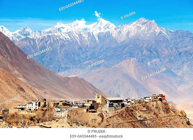 Jharkot village, one of the best villages in round Annapurna circuit trekking trail route, Nepal Himalayas mountains