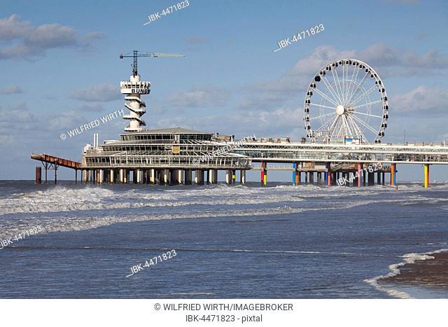 Pier with bungee jumping tower and Ferris wheel, Scheveningen, The Hague, Holland, The Netherlands