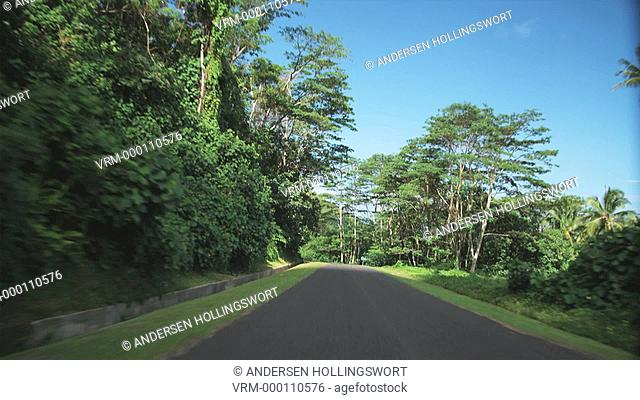 driving down an island road
