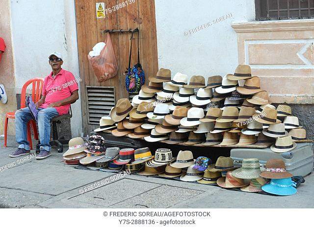 A street vendor selling sombrero in Cartagena,Colombia,South America