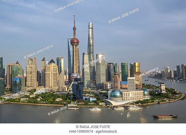 The Bund and Pudong district skyline in Shanghai City