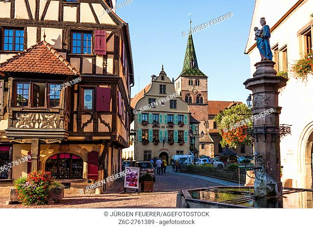 Turckheim, at the scenic route of Vine Alsatian, picturesque village, Alsace, France