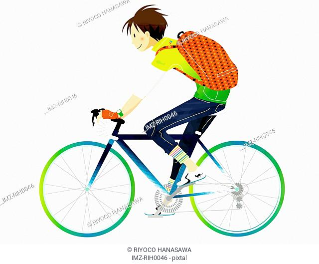 Illustration of a young man riding a bicycle