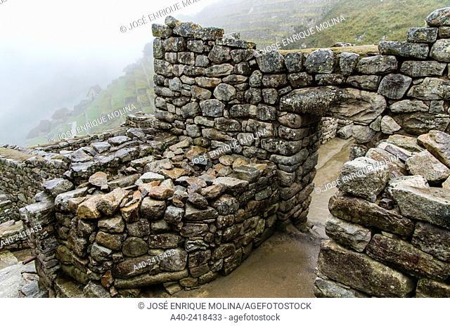 Archaeological site of Machu Picchu, Cusco, Peru.Hanan sector