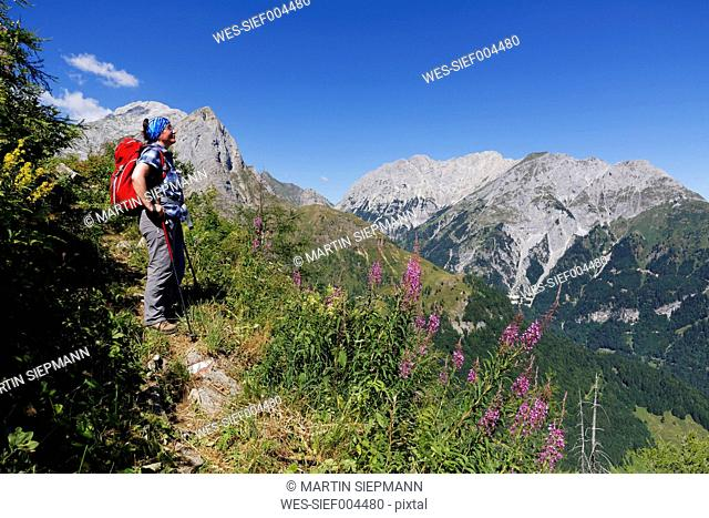 Austria, Carinthia, Carnic Alps, Hiker looking at Mountainscape