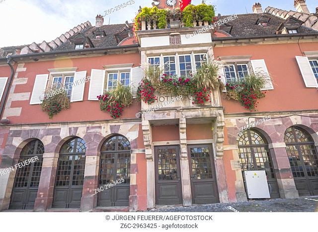 the flowery guildhall of the village Barr, on the Wine Route of Alsace, France