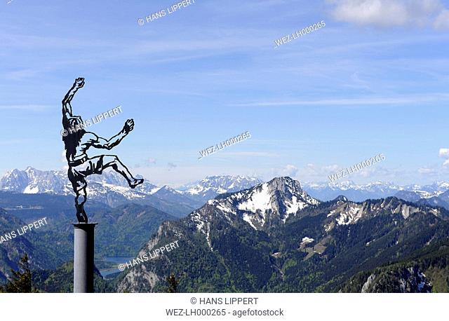 Germany, Bavaria, View of Rauschberg Mountain and sculpture